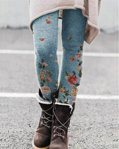 Stretchy Flower Print Leggings Casual Milk Fabric Pants