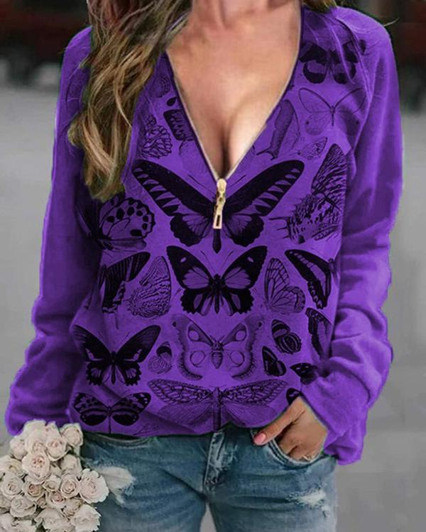Butterfly Printed V Neck Print Sweatshirt