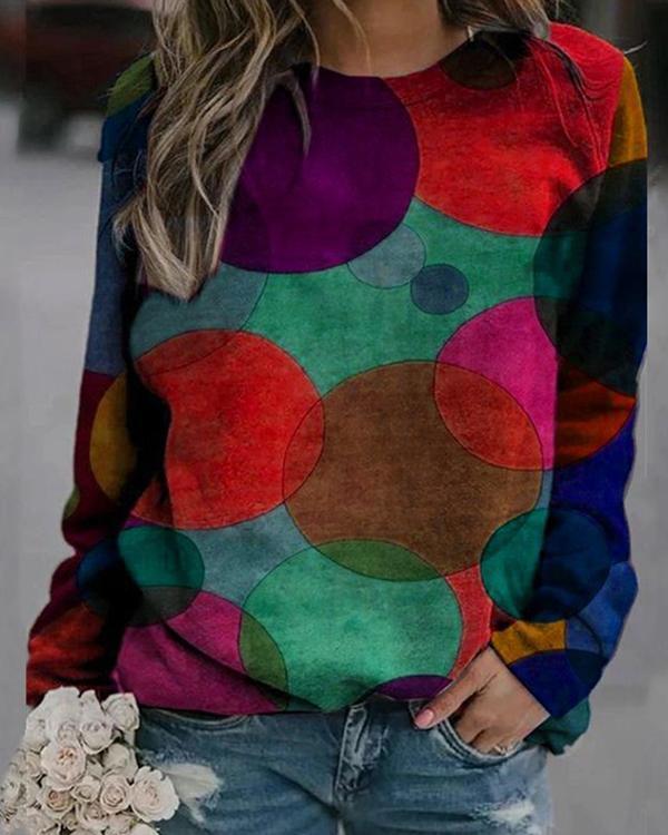 Colorblock Printed V Neck Print Sweatshirt
