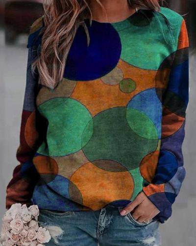 Colorblock Printed Crew Neck Print Sweatshirt