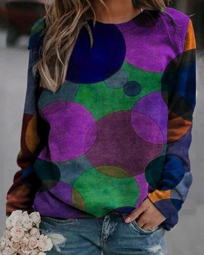 Colorblock Printed Crew Neck Print Sweatshirt