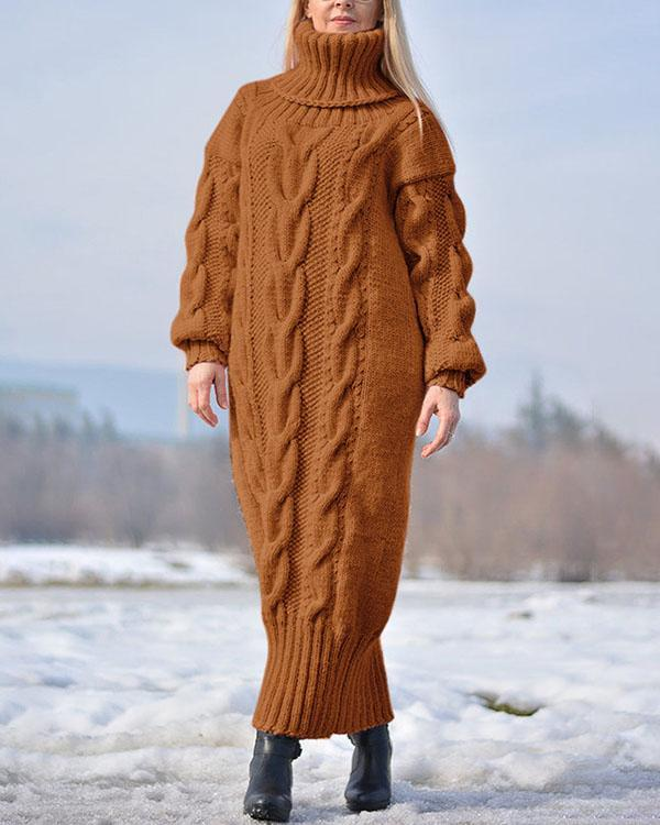 Handmade Wool Dress Solid Color Sweater Long Dress