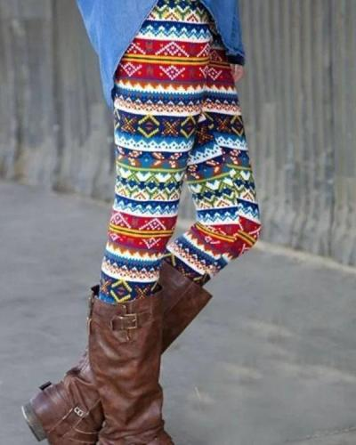 Bohemian Print Leggings Casual Milk Fabric Pants