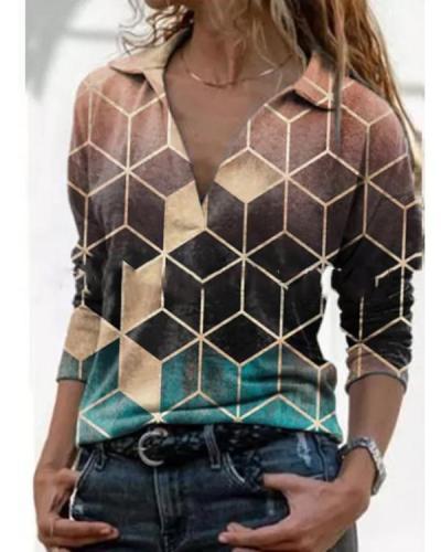 Lapel Long Sleeve Colorblock Printed T-shirt