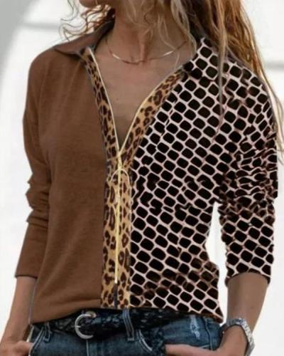 Color Block Casual V-Nek Long Sleeve Blouse