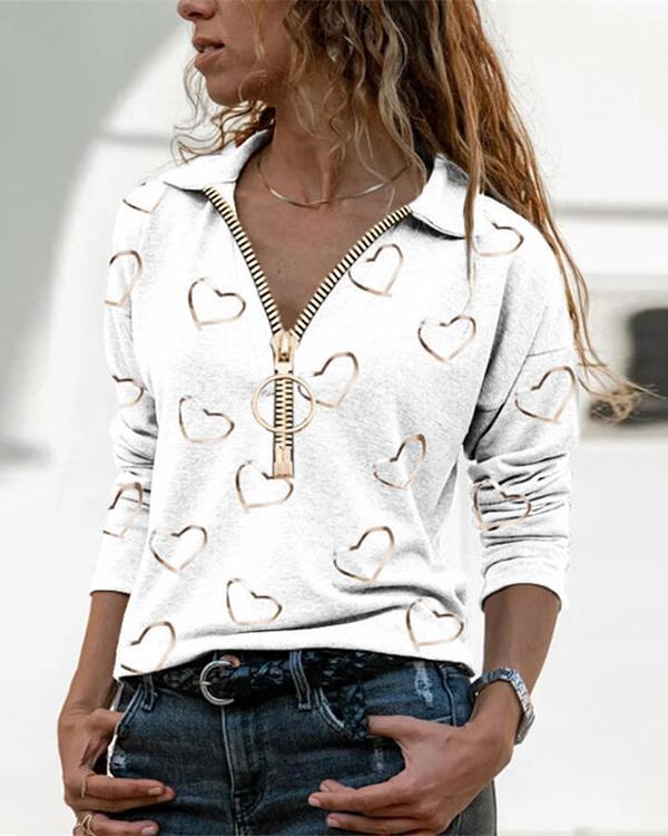 Color Block Casual V-Nek Zipper Long Sleeve Blouse
