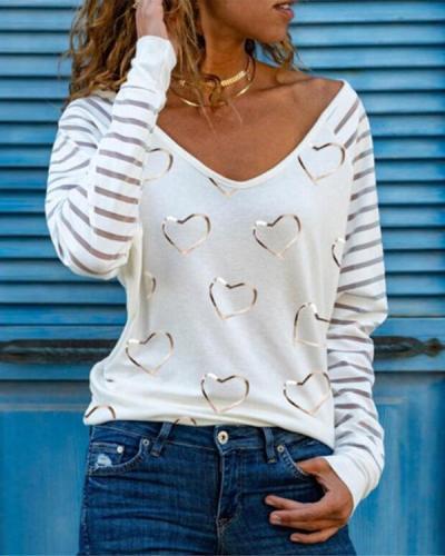 Casual Heart Print V Neck Shirts&Tops