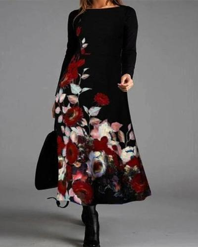 Elegant Flower Long Sleeve Round Neck Maxi Dress