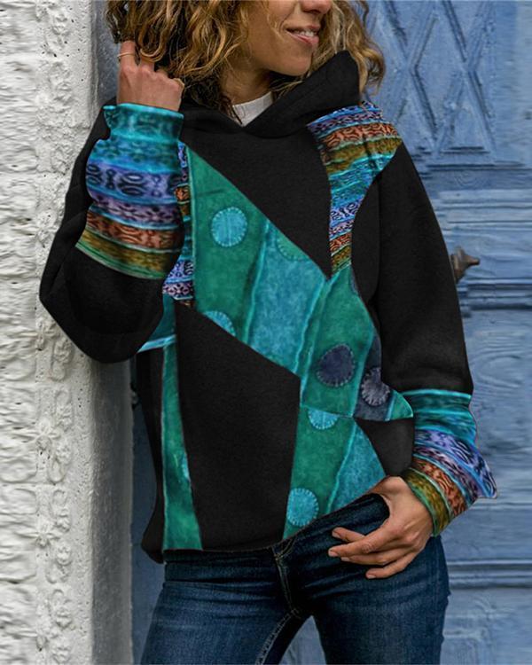 Retro Long sleeve Hooded Neck Sweatshirt