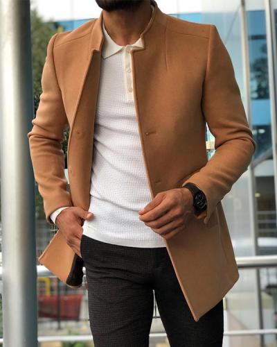 Fashion Men's Slim Fit Wool Coat