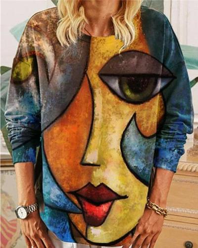Abstract Beauty Graphic Long Sleeve Crew Neck Loose Fit Blouse