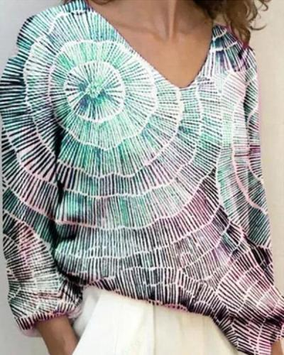 Tie Dye Casual V-Neck Long Sleeve Loose Fit Blouse