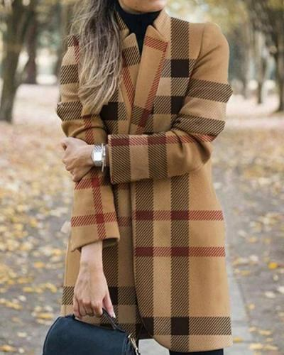 Fashion Stripe/Plaid One Button Pockets Blazer&Coat