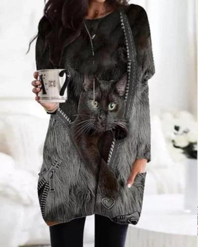 Fashion Animal Print Batwing Sleeve Casual Blouses with Pockets