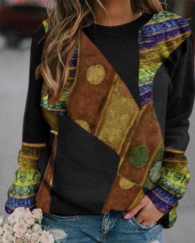 Retro Long sleeve Round Neck Sweatshirt