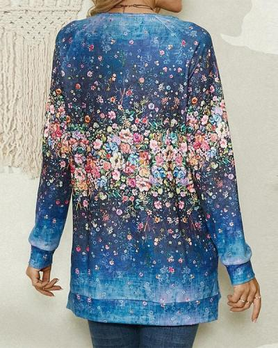 Floral Print O-neck Long Sleeve Casual Blouse for Women