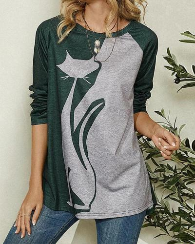 Cat Print Long Sleeve O-neck Casual T-shirt for Women