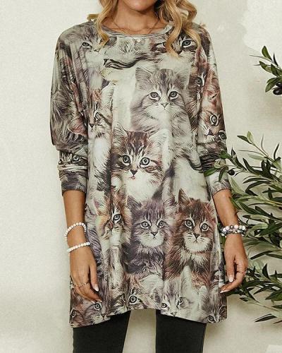 Cute Cat Print Long Sleeve Casual Pocket Blouse for Women