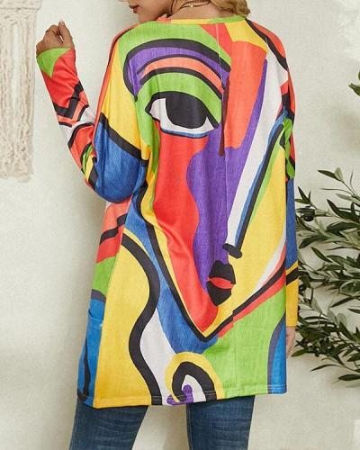 Portrait Abstract Art Print Pocket Long Sleeve Casual Blouse