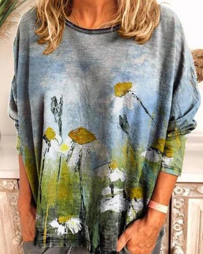 Long Sleeve Crew Neck Oil painting flowers Shirt & Top