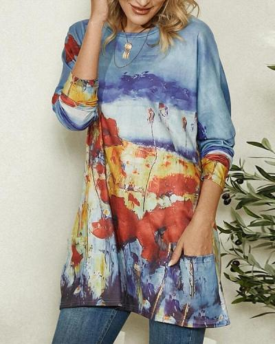Floral Print Pocket Long Sleeve Casual T-shirt for Women