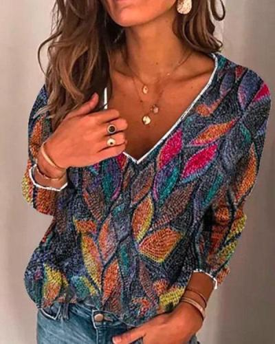 Straight V-Neck Fabric Shirt