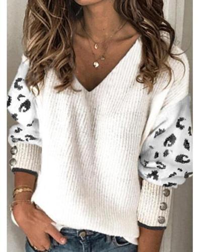 V-Neckline Lepard Print Casual Loose Regular Sweaters