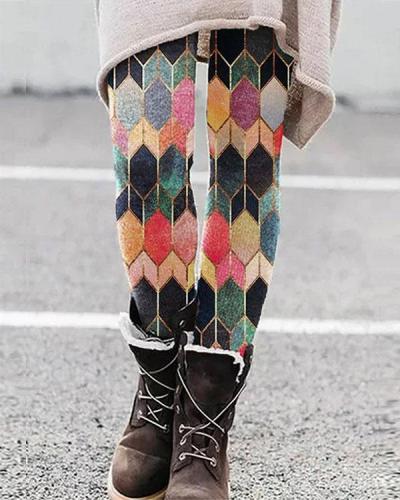 Color Block Leggings Casual Milk Fabric Pants