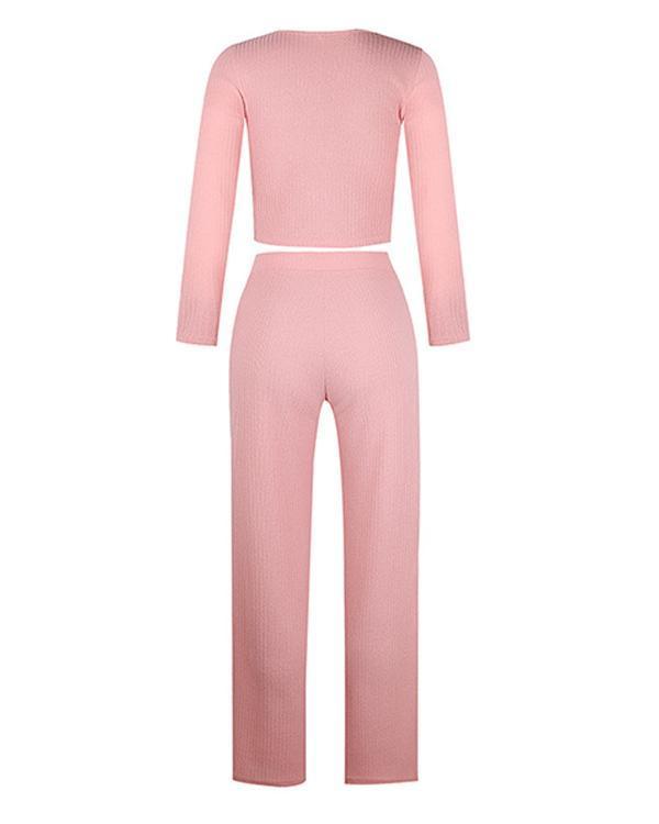 Women Cozy Casual Slim Crop Top Wide Leg Pants Fashion Sets