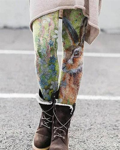 Colorful Animal Printed Leggings Casual Milk Fabric Pants