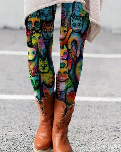Colorful Animal Printed Leggings Casual Milk Fabric Pants