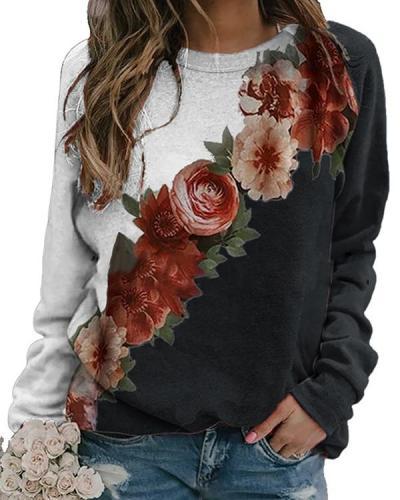 Holiday Floral Vintage Casual Shift Shirts&Tops