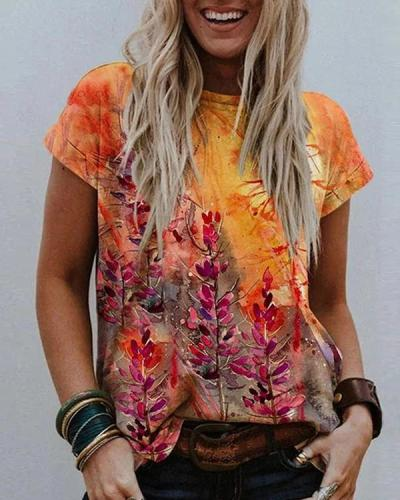 Floral Printed Crew Neck Short Sleeve Shift Shirts & Tops