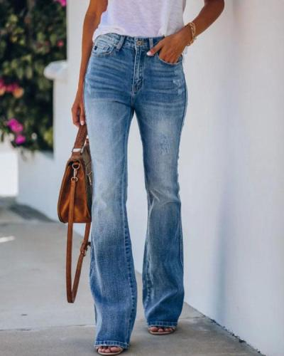Retro High Waist Bottom Denim Pants