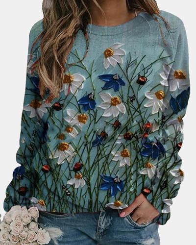 Boho Holiday Floral Painting Vintage Casual Shift Shirts&Tops