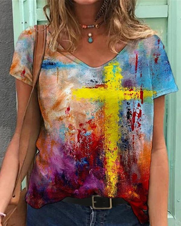 Graffiti Cross Painting Print V Neck T-shirt