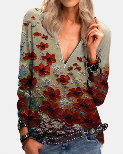 Flower Zipper Casual V-Neckline Blouses
