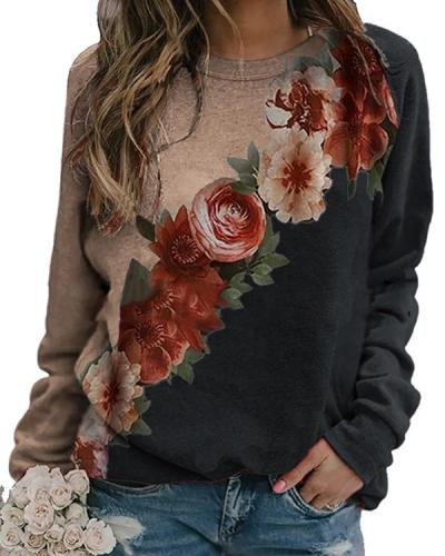 Holiday Floral Vintage Casual Shift Shirts&Tops