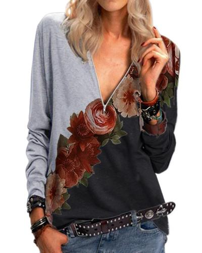 Flower Contrast Zipper Casual V-Neckline Blouses