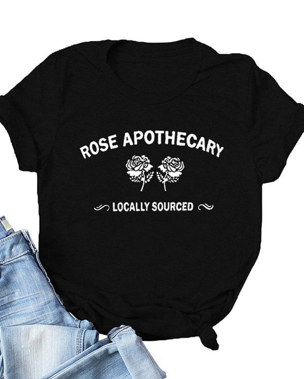 Rose Apothecary Letter Print Daily Casual T-shirts