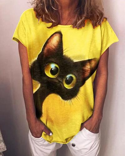 Black Cat Print Shirts & Top