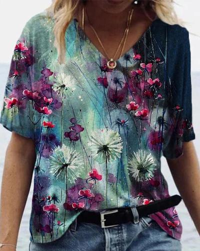 Graffiti Flower Print Short Sleeve T-shirt