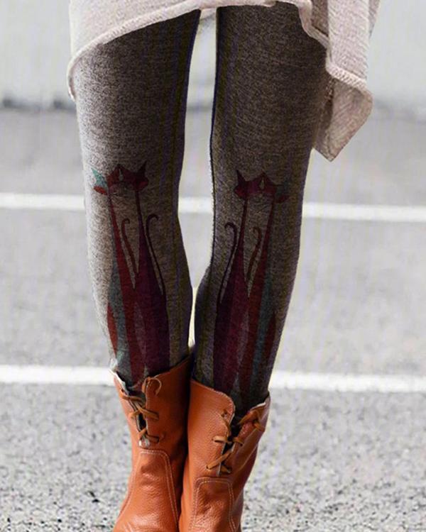 Cartoon Printed Leggings Casual Milk Fabric Pants