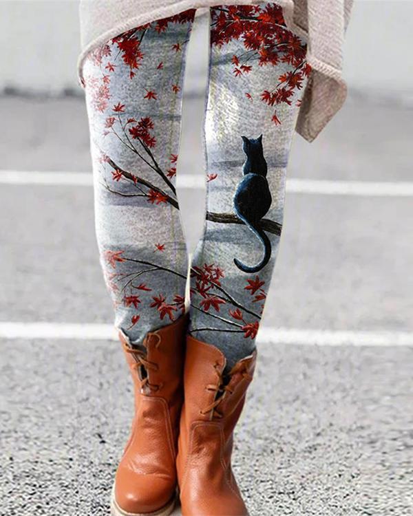 Cat Printed Leggings Casual Milk Fabric Pants