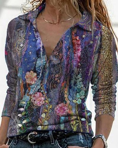 Vintage Floral Print Long Sleeve Shirt Collar Blouse