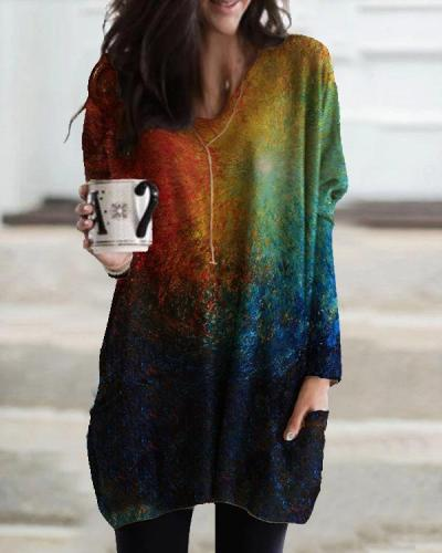 Women Colorful Ombre Tie Dye Pocket Long Sleeve Casual T-shirt