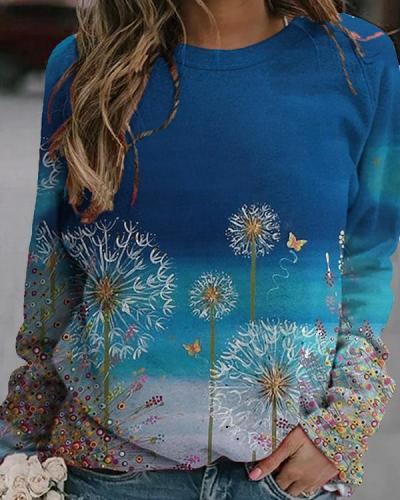 Dandelions Print Casual Round Neck Shirts&Tops