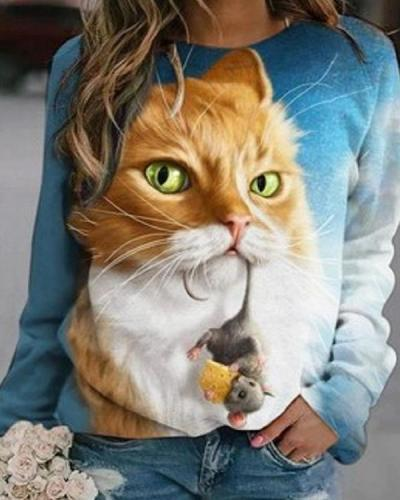 Digital Print Cat&Mouse Casual Round Neck Shirts&Tops