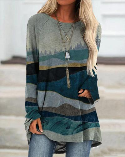 Hills Print Long Sleeve Crew Neck Casual Shirts&Tops