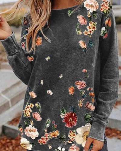 Casual Flower Print Round Neck Loose Fit Shirts&Tops
